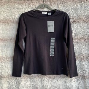 Izod S Solid Black Classic Long Sleeve Top